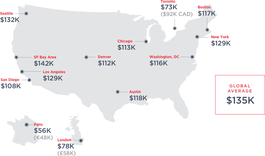 Map of average tech worker salary