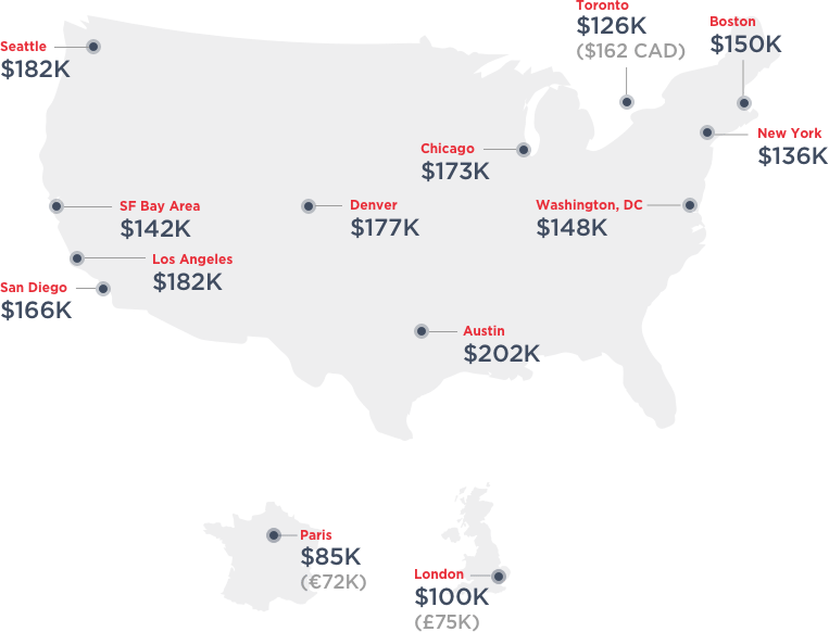 Map of average tech salaries adjusted for SF cost of living